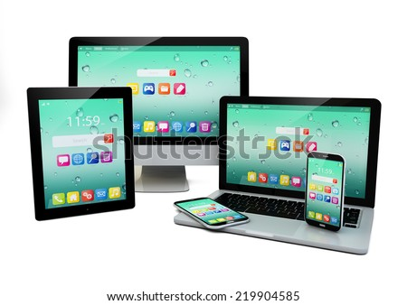 business laptop or office notebook, tablet PC, computer and smartphones with color interface with application icons isolated on white background