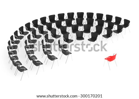 Business large meeting. Chairs arranging round with Boss Chair on a white background. 3d rendering - stock photo