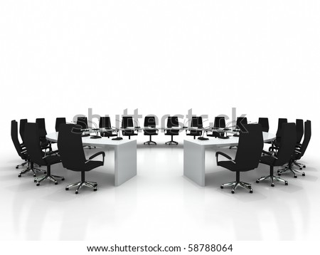 Business large meeting. Conference table and chairs with microphones isolated on white background - stock photo