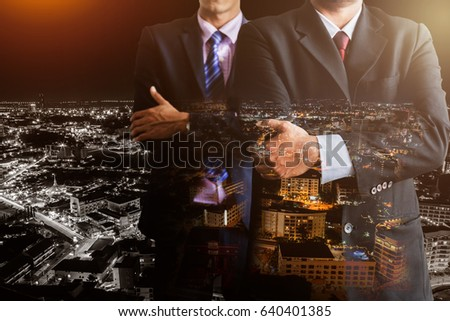 business leader concept with two business man in suit with meeting people background