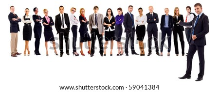 business leader presenting his successful business team - stock photo