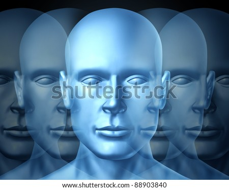 Business Leadership and vision Training with a blue frontal human head showing openness to learn and lead a financial team into a successful career and corporate future. - stock photo