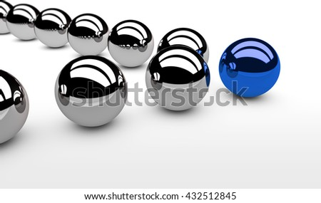 Business leadership concept with a blue leader sphere and silver followers 3D illustration. - stock photo