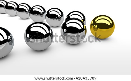 Business leadership concept with a gold leader sphere and silver followers 3D illustration.