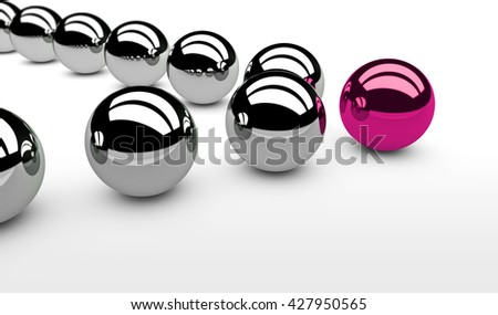 Business leadership concept with a pink leader sphere and silver followers 3D illustration. - stock photo