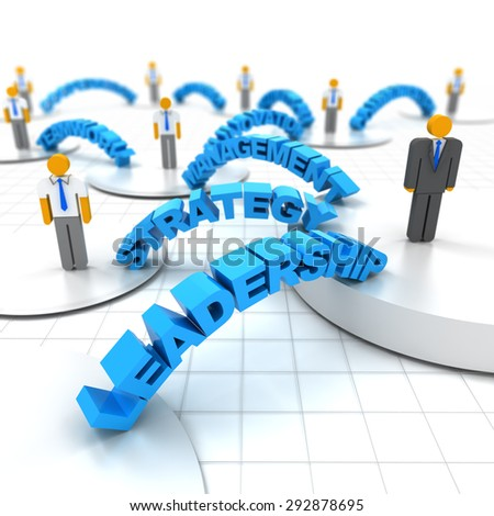 Business leadership concept with words, 3d render - stock photo