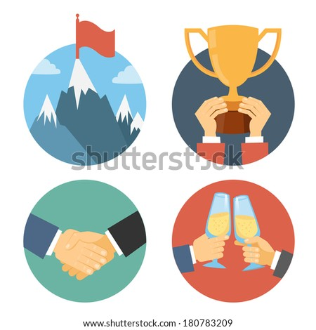 business leadership illustration in flat design: success celebration victory and handshake - stock photo