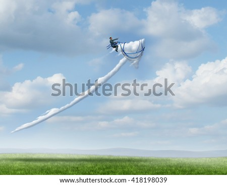 Business leadership success metaphor as a businessman riding and controlling a cloud shaped as an upward moving arrow as a symbol for successful management and strategy with 3D illustration elements. - stock photo