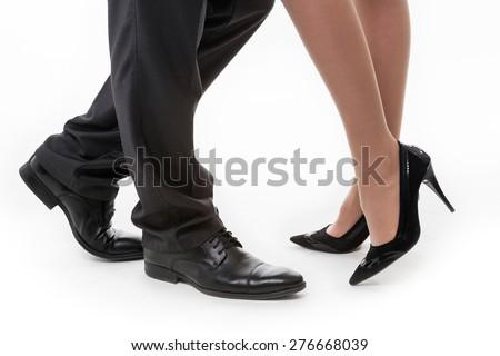 Business legs. Female legs. Male legs. Business style. - stock photo