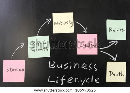 Business lifecycle  concept on blackboard - stock photo