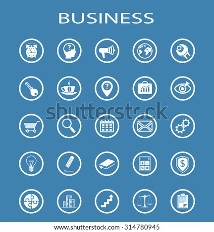 Business Line Icons. Isolation on a blue background