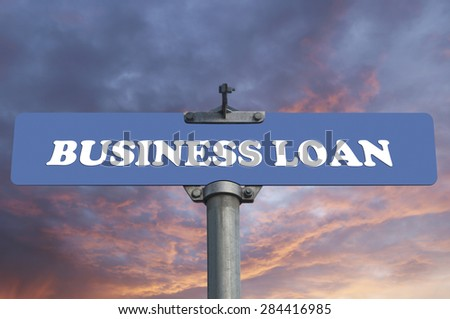 Business loan road sign - stock photo