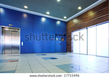 Business lounge doors in airport terminal, Moscow, Russia