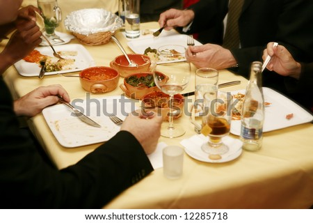 Business lunch at the oriental restaurant (pakistan cuisine) - stock photo