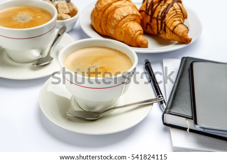 business lunch - fresh croissants and coffee