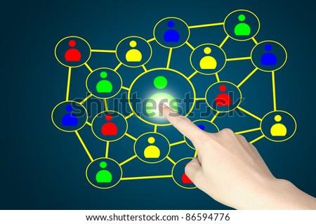 Business male hand push button of social network diagram - stock photo