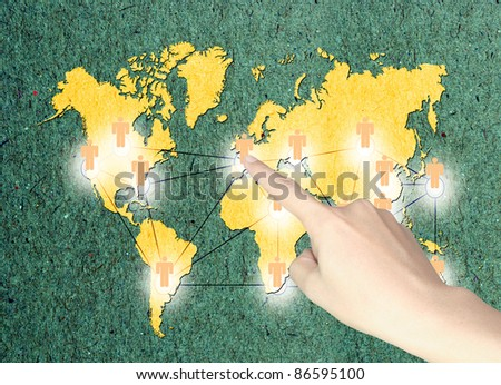 Business male hand push button of social network diagram  on recycle paper - stock photo