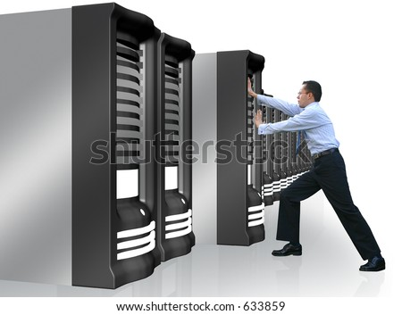 business man adding a server to his network - stock photo