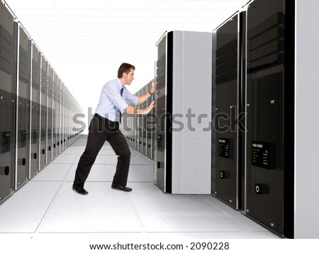 Business man adding server to network in a server room - 3d rendered servers high detail - stock photo