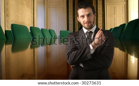 business man against of a meeting table - stock photo