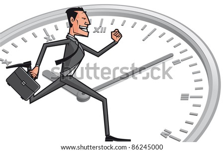 Business man against the time - stock photo