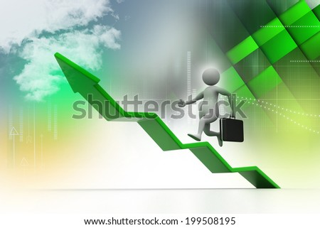 Business man aim to business  growth  - stock photo