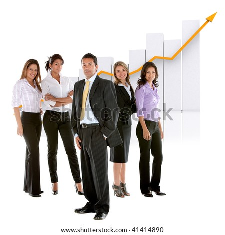 Business man among business women isolated over white - stock photo