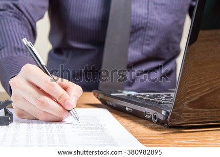 business man analyzing accounting report, business performance concept