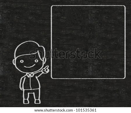 business man and blank board written on blackboard background, high resolution, easy to use - stock photo
