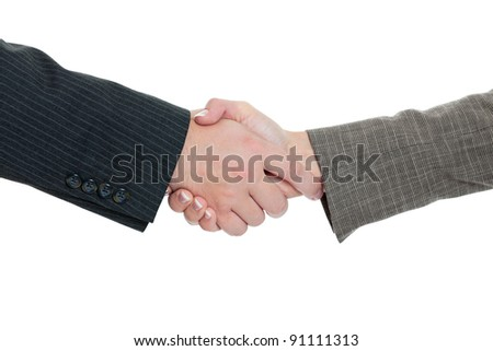 Business man and business woman handshake isolated on white