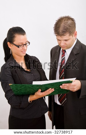 Business man and bussines woman - stock photo