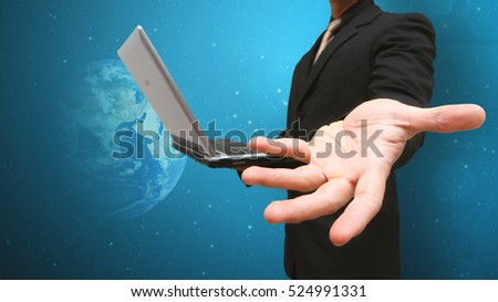 Business man and communication concept : Elements of this image furnished by NASA