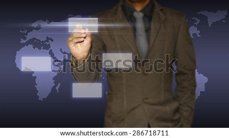 Business man and earth. - stock photo