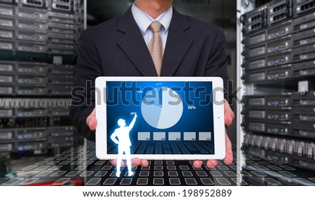 Business man and graph monitor system - stock photo