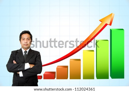 Business man and Growth Colorful Bar Diagram with red arrow