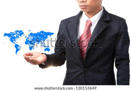 business man and hand holding world map of data and information network - stock photo