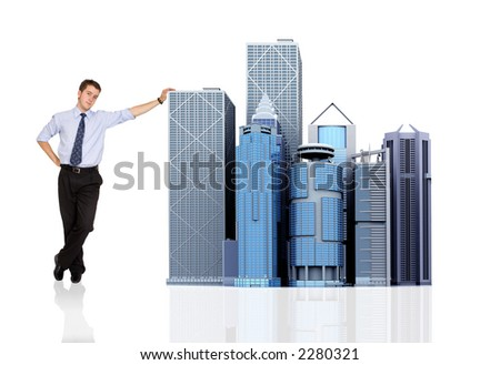 business man and his big corporation - buildings made in 3d - over white - stock photo