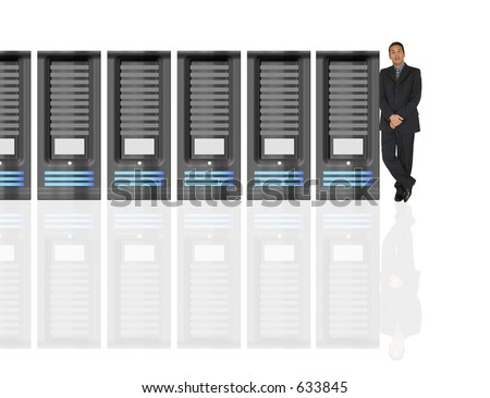 business man and his network - stock photo