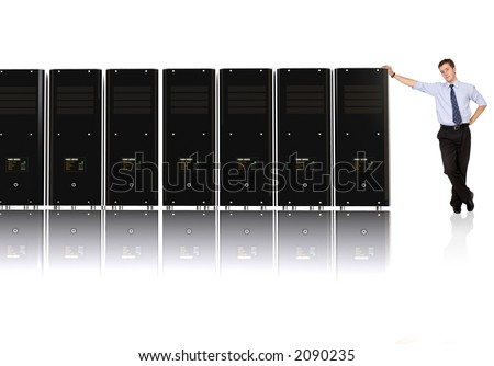 Business man and his network - 3d rendered servers, high detail even on servers screens - stock photo