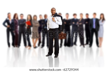 business man and his team isolated over a white backgroun
