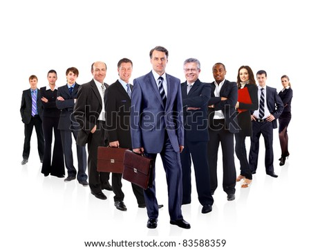 business man and his team isolated over a white background - stock photo