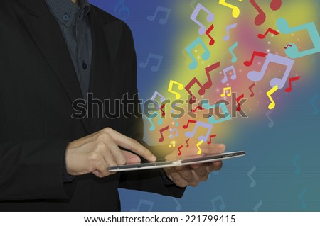 business man and music notes - stock photo
