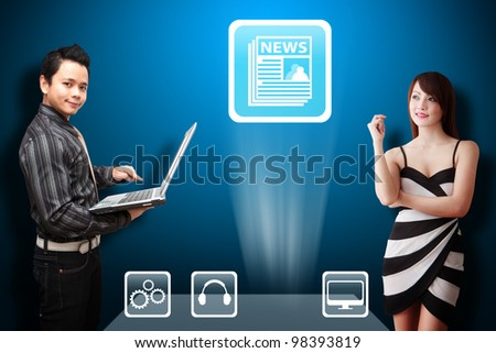 Business man and secretary look at the News icon