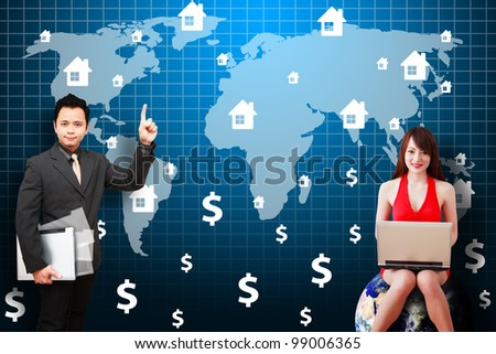 Business man and secretary present the House icon on world map : Elements of this image furnished by NASA - stock photo