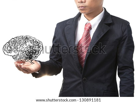 business man and smart brain on white