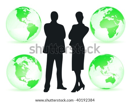 Business man and woman all around the world as business concept