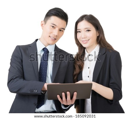 Business man and woman discuss, closeup portrait isolated on white background. - stock photo