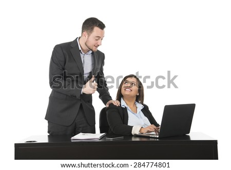 Business man and woman happy at work against a white background - stock photo