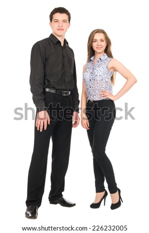 Business man and woman isolated on white background. Teamwork concept. Young people in full-length - stock photo
