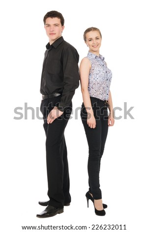 Business man and woman isolated on white background. Teamwork concept. Young people in full-length back to back - stock photo